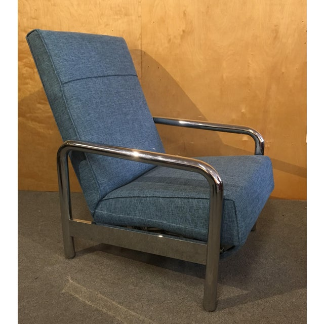 Blue Milo Baughman for Thayer Coggin Chrome Reclining Lounge Chair For Sale - Image 8 of 8