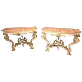 Pair of Italian Parcel Paint and Gilt Decorated Faux Marble-Top Console Tables For Sale
