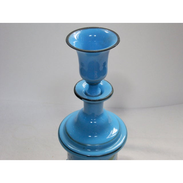 Antique French Hand Painted Blue Opaline Decanter For Sale In Providence - Image 6 of 10