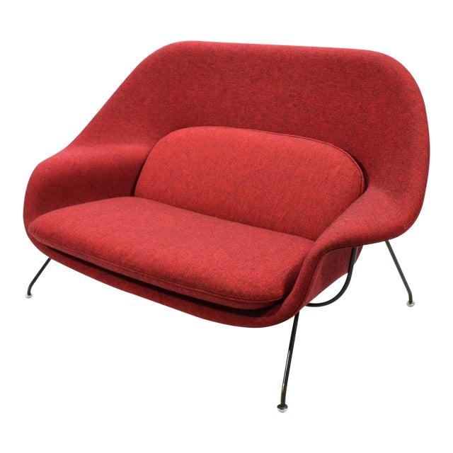 Eero Saarinen Womb Settee Upholstered in Alexander Girard Fabric For Sale