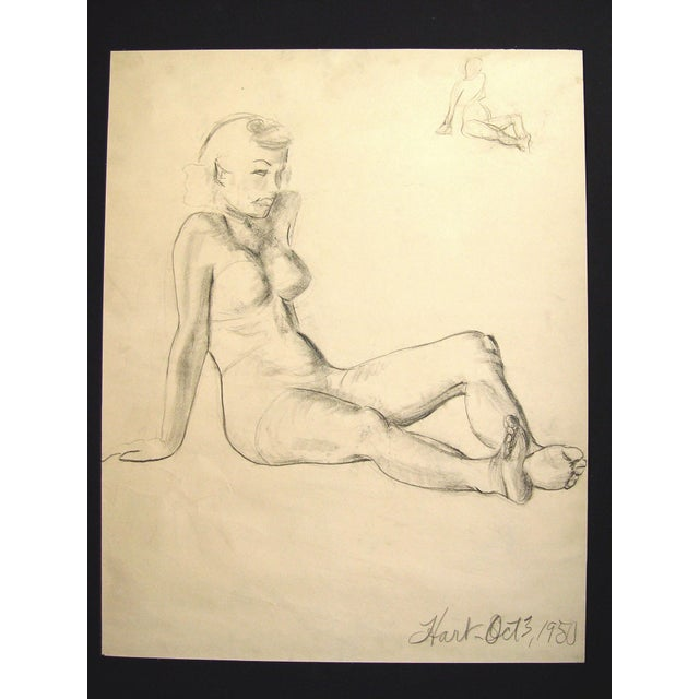 Figural Study in Charcoal, 1950 - Image 2 of 3
