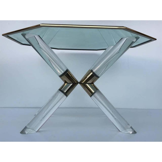 """Mid-Century Modern Charle Hollis Jones """"Post & Truss"""" Lucite and Brass Dining Table For Sale - Image 3 of 8"""