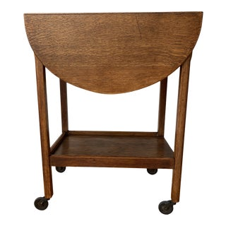 An Antique English Wooden Trolley With Two Expandable Leaves For Sale