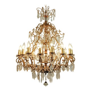 Vintage French Cut Crystal/Brass frame Sixteen Arms Chandelier For Sale