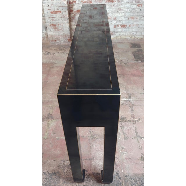 Lacquer Fine Black Lacquer Console Table With 3 Drawers For Sale - Image 7 of 10