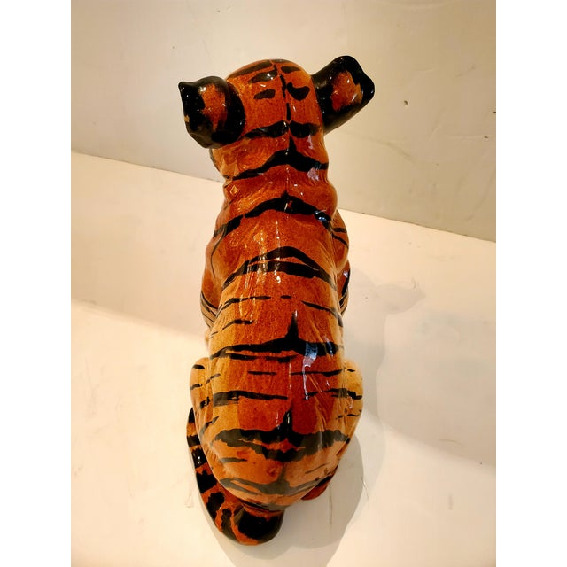 1970s Italian Ceramic Tiger Cub Sculpture For Sale - Image 5 of 10