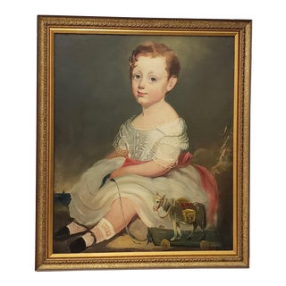 """19th C. American """"Young Girl With Her Toy Pony"""" Portrait Oil Painting For Sale"""