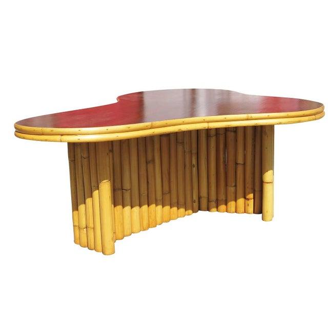 Biomorphic Amoeba Rattan & Mahogany Coffee Table - Image 6 of 6