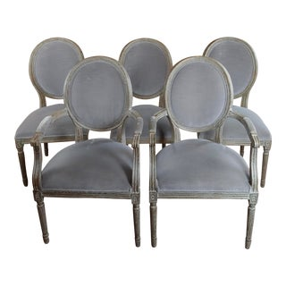 French Vintage Round Back Dining Chairs -Set of 8 For Sale