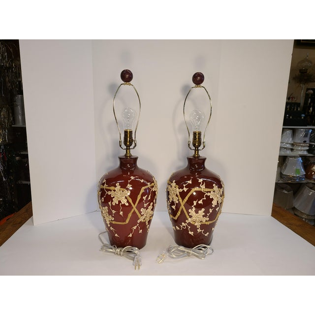 1960s Moriage Bamboo Lamps With Linen Shades- a Pair For Sale - Image 12 of 13