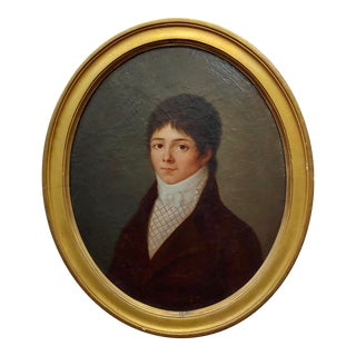 18th Century French Portrait of a Young Aristocratic Man - Oil Painting For Sale