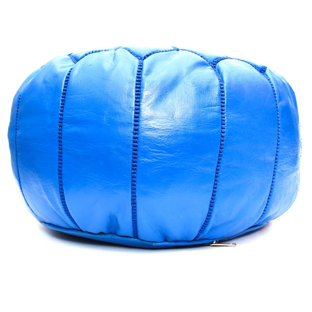 Atlas Blue Leather Pouf - Image 3 of 4