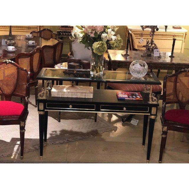 Ebony and Bronze Mounted Hollywood Regency Serving Cart or Étagère Jansen For Sale - Image 12 of 13