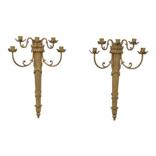 Vintage Mid Century Five Arm Solid Brass Candle Sconces - a Pair For Sale