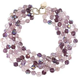 Ciner Torsade Necklace 1980s Vintage Purple Lavender Crystal Rhinestones Clasp For Sale
