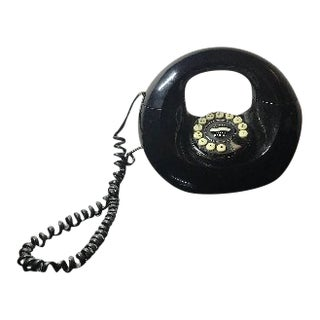 1970s Vintage Black Donut Handbag Landline Telephone For Sale