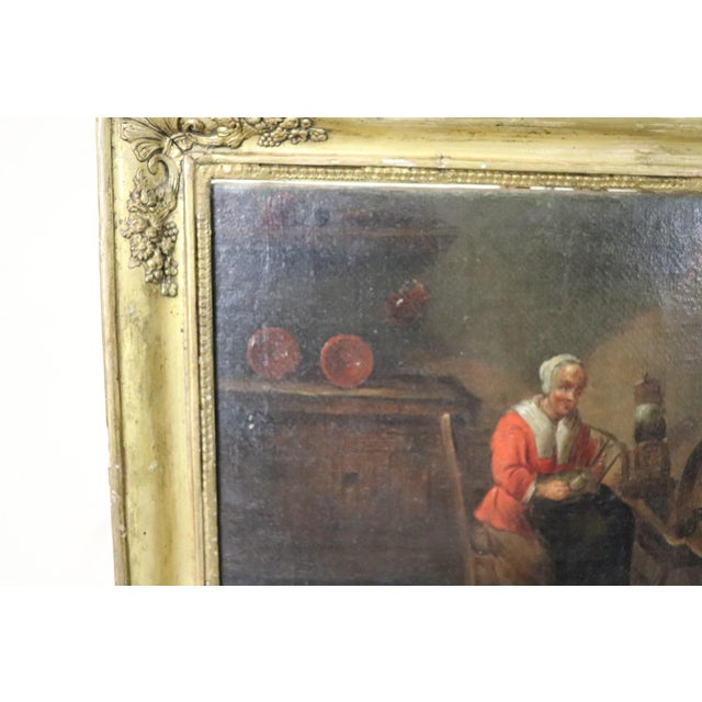 Beautiful painting oil on canvas Flemish school of great pictorial quality. The painting represents an interior scene with...