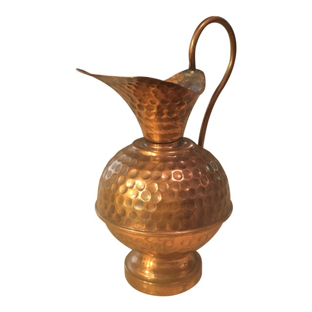 Hammered Copper Small Decorative Pitcher For Sale