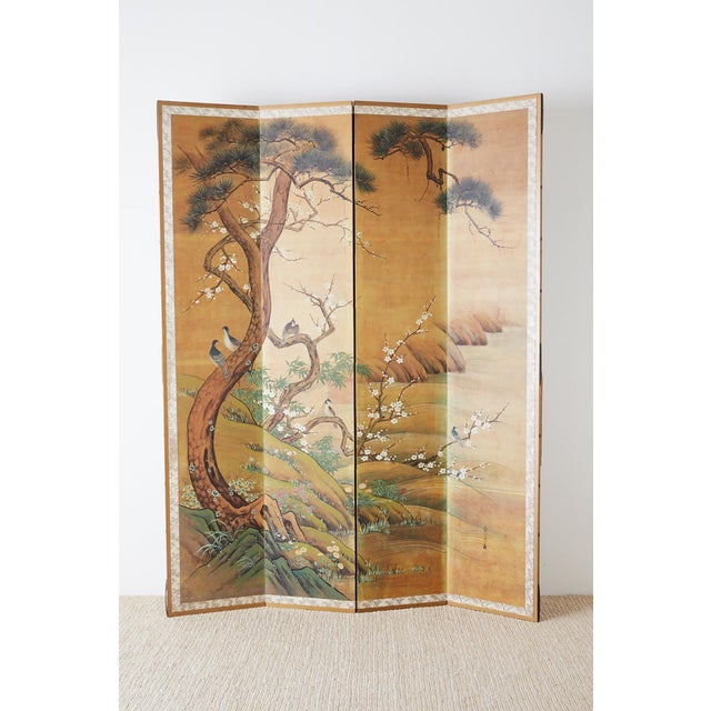 Asian Japanese Edo Style Four-Panel Spring Landscape Screen For Sale - Image 3 of 13
