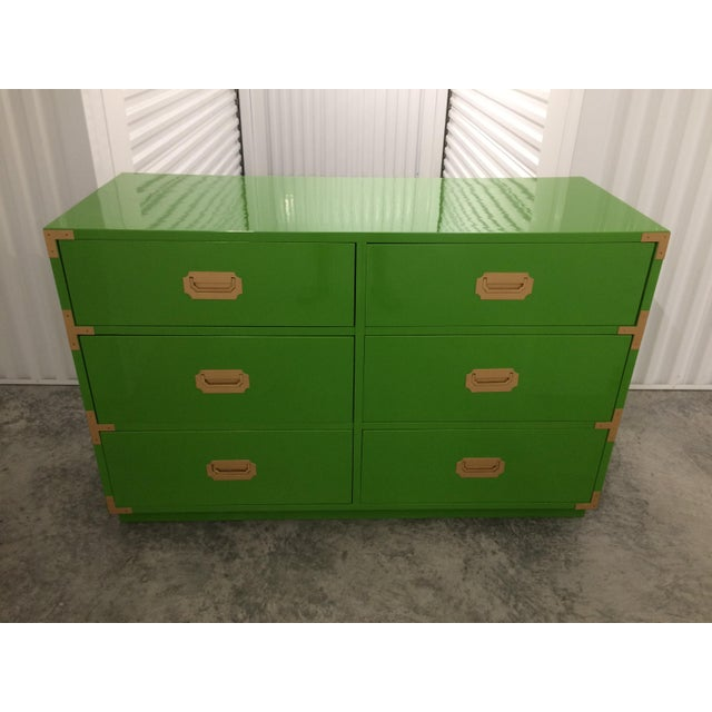 Dixie Campaign Dynasty Green Lacquered Dresser - Image 5 of 6