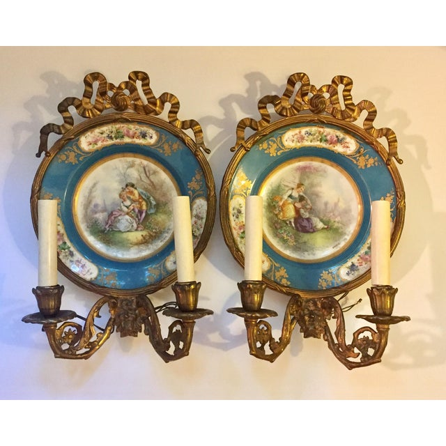 Antique Plate Wall Sconces - A Pair - Image 2 of 11
