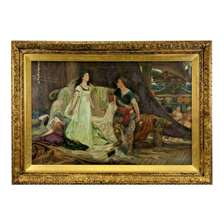 1800's Antique Monumental Nordic Scene Victorian Painting For Sale