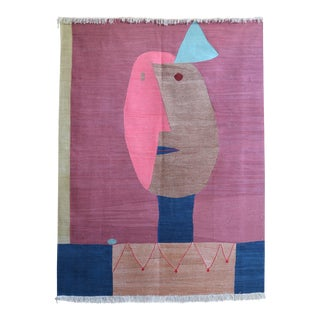 Paul Klee - Clown - Inspired Silk Hand Woven Area - Wall Rug 4′4″ × 5′10″ For Sale