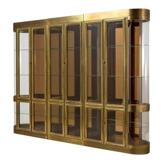 Three Part Mastercraft Designed Brass and Glass Display or Vitrine Cabinets For Sale