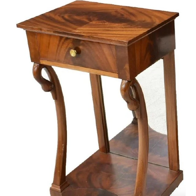 Antique French Empire Bookmatched Mahogany Swan Head Nightstand or Side Table - a Pair For Sale In Austin - Image 6 of 7
