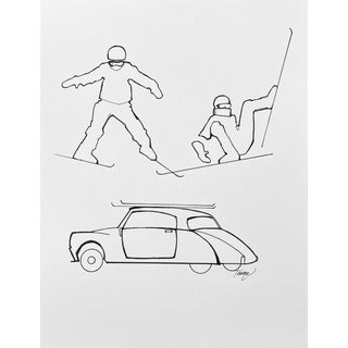 """""""Ski School IV"""" Contemporary Minimalist Figurative Pen and Ink Drawing For Sale"""