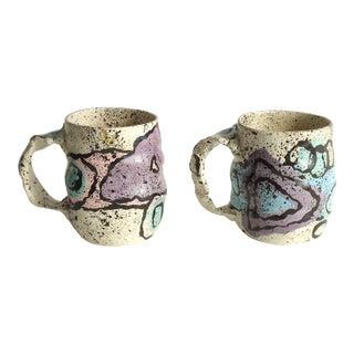 Vintage Babat Memphis Style Studio Ceramic Mugs - a Pair