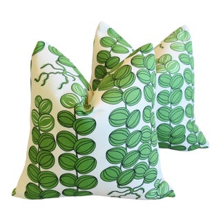 "Designer Josef Frank ""Celotocaulis"" Floral Linen Feather/Down Pillows 18"" Square - Pair For Sale"