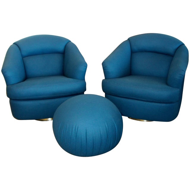 Pair of Chairs With Ottoman From Directional For Sale