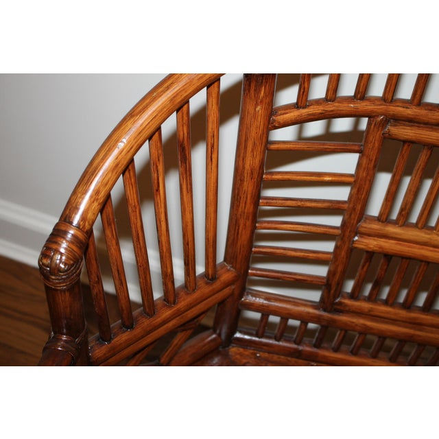 Vintage Mid Century Bamboo Rattan Pavilion Brighton Chinoiserie Chippendale Settee For Sale - Image 4 of 13