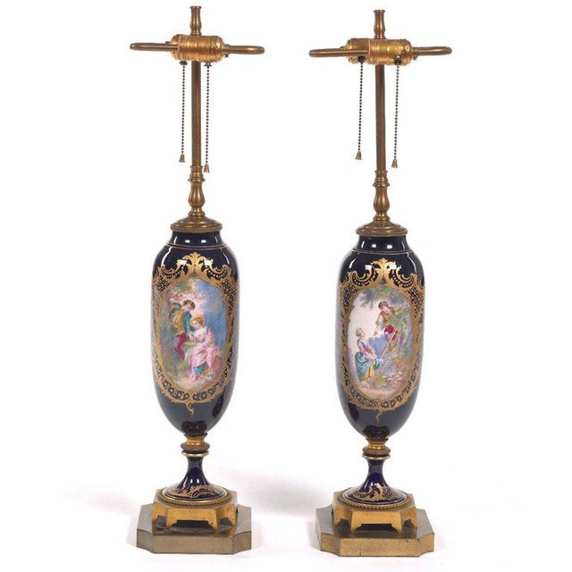 Pair of Sèvres Style Ormolu-Mounted Urns, Now as Lamps For Sale In Atlanta - Image 6 of 7