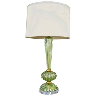 Italian Green and Gold Murano Glass Table Lamp For Sale
