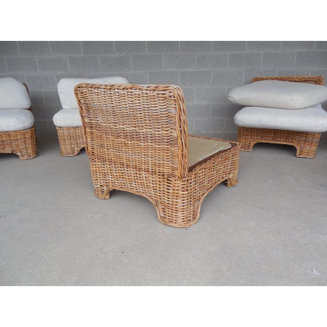 Vintage Wicker Sectional Patio Seating Set - Set of 6 - Image 5 of 8