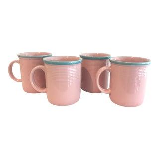 Rio Century Pink & Turquoise Stoneware Mugs - Set of 4