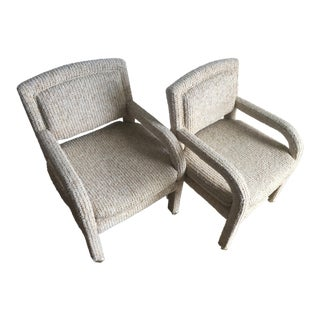 Vintage Mid Century Modern Upholstered Club Chairs by Lane in the Milo Baughman Style - A Pair