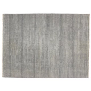 "Modern Transitional Grass Cloth Patterned Area Rug - 9' X 12'1"" For Sale"