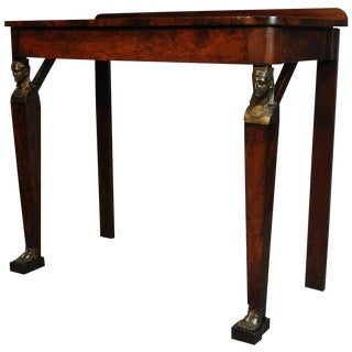 19th Century French Empire Figural Flame Mahogany One Drawer Console Hall Table For Sale