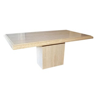 1970 Hollywood Regency Long Travertine Marble Stone Dining Table With Travertine Base For Sale