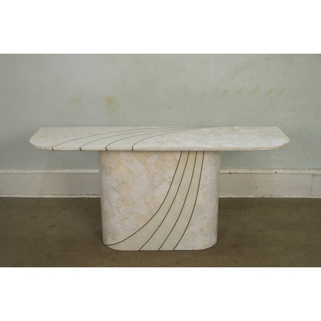 Gold Maitland Smith Tessellated Stone Brass Inlaid Mid-Century Modern Console Table For Sale - Image 8 of 13