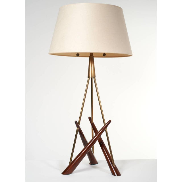 Brass Pair of 'Constructivist' Walnut and Brass Tripod Table Lamps For Sale - Image 7 of 8