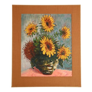1960s Sunflower Acrylic Painting For Sale