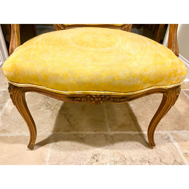 French Fauteuil in Fortuny Fabric For Sale - Image 9 of 10