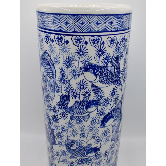 Ceramic Vintage Blue and White Chinese Porcelain Umbrella Stand For Sale - Image 7 of 13