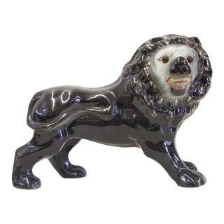 1920s English Staffordshire Black Lion For Sale
