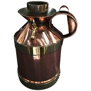 French Polished Copper and Brass 1/2 Gallon Jug or Pitcher, 19th Century For Sale