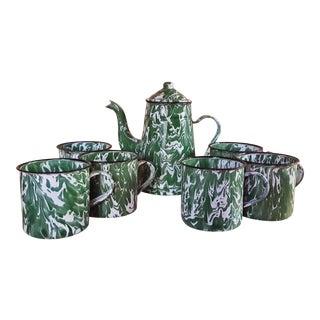 Vintage Enamelware Teapot & Mug - Set of 6